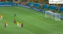 James Rodriguez PENALTY Goal vs Brazil ~ Brazil vs Colombia 2-1 04/07/2014 HQ