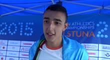 Nazim Babayev AZE after winning Gold in the Triple Jump