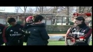 Pato saying goodbye to everyone at Milanello 04-01-2013