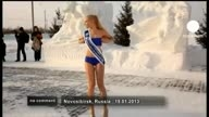 Miss Snow 2013 Universe in sub-zero temperatures