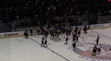New York City Cops and Firemen Brawl at Charity Hockey Game mp4